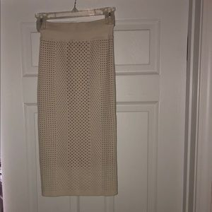 Express Cream Colored High Waisted Pencil Skirt